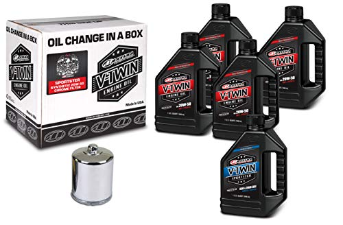 Maxima Racing Oils 90-119015C Chrome Complete Oil Change Kit (Sportster Synthetic 20W-50 Filter), 5 quart, 1 Pack
