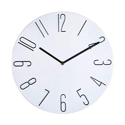 Gaoominy Reloj de Pared Simple Reloj de Pared para Sala de Estar de 12 Pulgadas Reloj de Pared para el Hogar Reloj de Pared para Dormitorio de Moda-Blanco