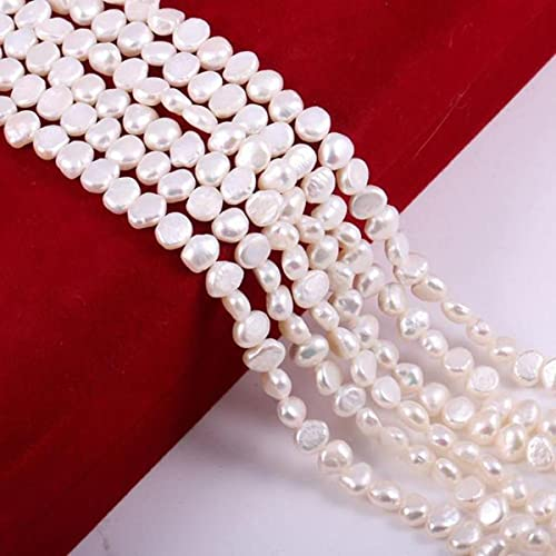 Natural Freshwater Pearl White Pink Irregular Beads for Jewelry Making DIY Earrings Bracelet Necklace Accessories-White,6-7mm-60 Pieces