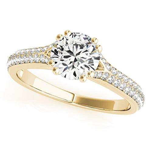 Diamond Solitaire Bridal Set Ring with 1.50 cttw (1.00 Carat Center Stone) of Natural Round Shape Diamonds available in 14K White, Yellow or Rose Gold. Free Designer Gift Box. Free Certificate.