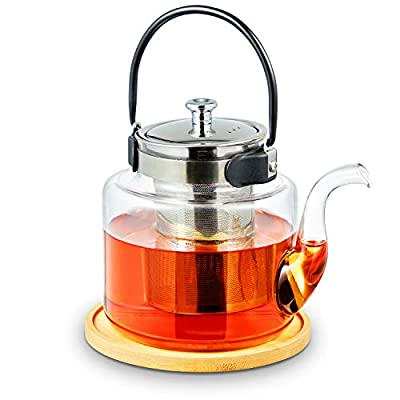 ROIMTEA Glass Teapot Kettle with Infuser for Loose Leaf Tea & Blooming Tea, Stovetop Safe Heat-Resistant Handle and Gooseneck Kettle Tea Brewer Maker with a Teapot Coaster, 1200mL/40oz