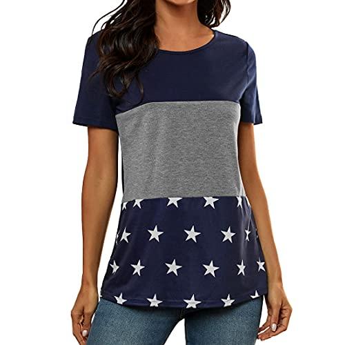 DOLAA Camisetas de Manga Corta para Mujer Verano Estampado de Estrellas Blusas Casuales Tops Jerseys Blusa Informal de Bloque de Color Sudadera con Cuello Redondo Camiseta de Manga Corta Ajustada