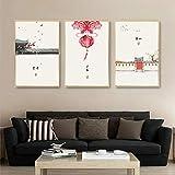 IILSZMT Cuadros Modernos Impresión De Imagen Artística Lienzo Decorativo para Salón Dormitorio 3 Piezas 50Cmx70Cm Linterna Roja Clásica De Estilo Chino