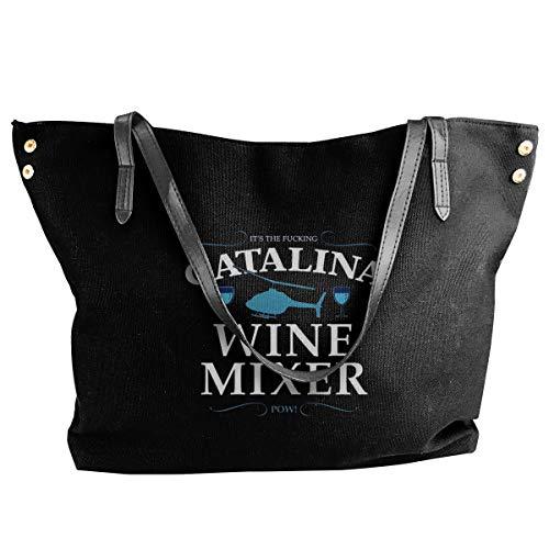 Jiaojiaozhe Catalina Wine Mixer Women's Classic Shoulder Portable Big Tote Handtas Work Canvas Bag