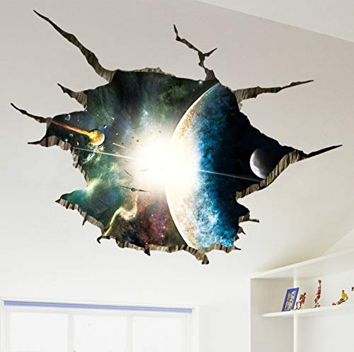 Outer Space Planets 3D Wall Stickers For Living Room Bedroom Floor Decoration Vinyl Diy Home Decor Wall Decals 60X90Cm