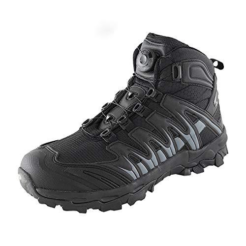 Adornty Zapatos para Caminar, Zapatos Hebilla automática con Cordones, Botas de Respuesta rápida Todo Terreno, para la Formación Militar,Negro,42