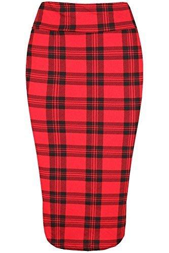 Fashion Star para Mujeres con Mensaje Cintura Elástica De Tubo Tubo Jersey Pata de Gallo Floreado Tartán Estampado Falda Media Pierna GB Tamaño 8-26 - Rojo A Cuadros, Talla Plus (GB 24/26)