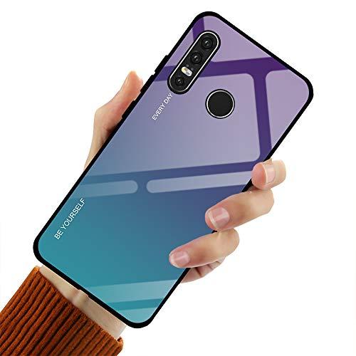 Hishiny Coque Huawei P30, Coque P30 Pro Lite Silicone Cover Housse de Protection Case Anti-Choc Étui Verre trempé backcover Coque Housse pour Huawei P30 Pro Lite (Vibleu, Huawei P30 Lite)