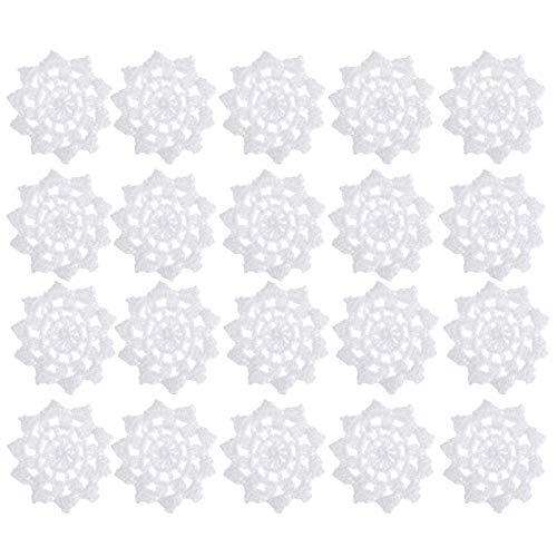 MILISTEN 20 Piezas Mano Crochet Tapete de Encaje para Manualidades Copo de Nieve Mini Tapetes Posavasos de Encaje Apliques de Flores de Algodón Parches para Ropa Diademas Sombreros Paquete