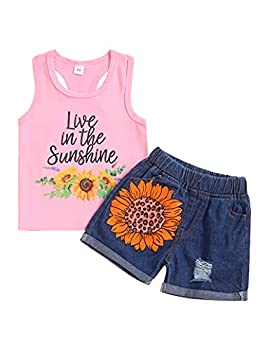 Toddler Girl Clothes Little Girls Summer Outfits Casual Sleeveless Sunflower Vests Tops Shorts Kid Clothing Set Pink 2T