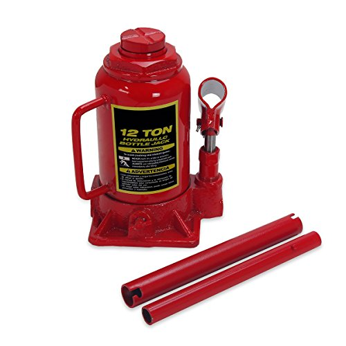 Stark Heavy Duty Low-Profile Hydraulic Bottle Jack - 12 Ton Capacity Lifting Equipment with Handle, Red