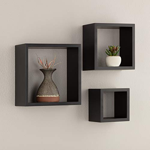 Pinnacle Frames and Accents, Black, Floating Square Wall Shelves Nested Cubes, Set of 3, 9 by 9, 3