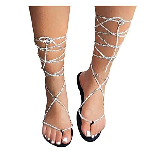 Aniywn Women s Strappy Sandal  Rhinestones Low Heel Sandals Summer Gladiator Flat Sandals Ankle Strap Flip Flops Black