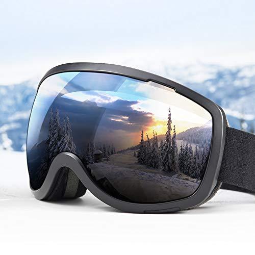 Elegear Skibrille Damen Herren Ski Goggles Snowboardbrille Anti-Fog 100% UV400 Schutz Verspiegelt Schneebrille Helmkompatible Skibrille für Snowboard Skifahren - Schwarz