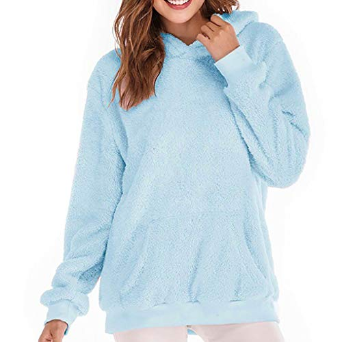 Women Hoodie TUDUZ Ladies Plus Size Long Sleeve Warm-up Faux Fur Zipper Pocket Fleece Hooded Sweatshirt Oversized Coat(B Light Blue,S=UK(10))