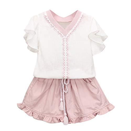 Mamum Enfants Bébé Filles Vêtements Broderie T-shirt + Short à Ensemble (Rose, 130(5-6Ans))