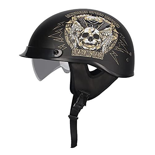 Casco Half Helmet Moto Abierto Casco Moto Abierto Casco Moto Jet Dot/ECE Homologado Retro Moto Cascos con Visera para Mofa Crash Cruiser Biker Racing (57~64cm)