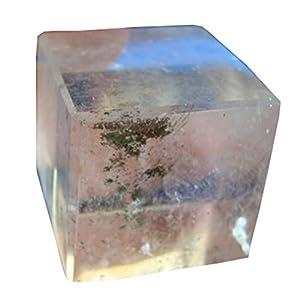 Den8013 Rare Clear Quartz Cube 32 Mm Lodolite Inclusions