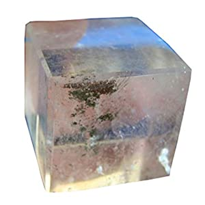 Den8013 Rare Clear Quartz Cube 32 Mm Lodolite Inclusions