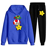 Su-per Ma-rio To-ad Star Tracksuits Unisex Funny Hoodie Sweatpants Suit Hooded Sweatshirt Set Outfit Blue and black Women-M/Men-S