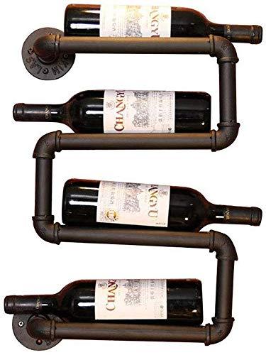 Vinteen Wasserrohr Red Weinregal European Style Kreative Weinkühler Wand- Weinregal - Halter 4 Flasche Wein Rack- Kitchen Bar Weinglas Gestell - Storage Rack Weinklimaschrank Haus Dekoration Design