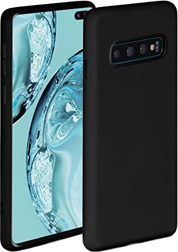 ONEFLOW Soft Hülle kompatibel mit Samsung Galaxy S10 Plus Hülle aus Silikon, erhöhte Kante für Displayschutz, zweilagig, weiche Handyhülle - matt Schwarz