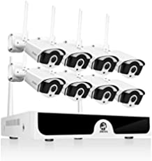 JOOAN 1080P Wireless Security Camera System,JOOAN 8×2MP Full HD Home Surveillance Outdoor WiFi CCTV Cameras with 8 Channel H.265+ NVR & Motion Detection & Email Alarm&Super Night Vision(Without Hard Drive)