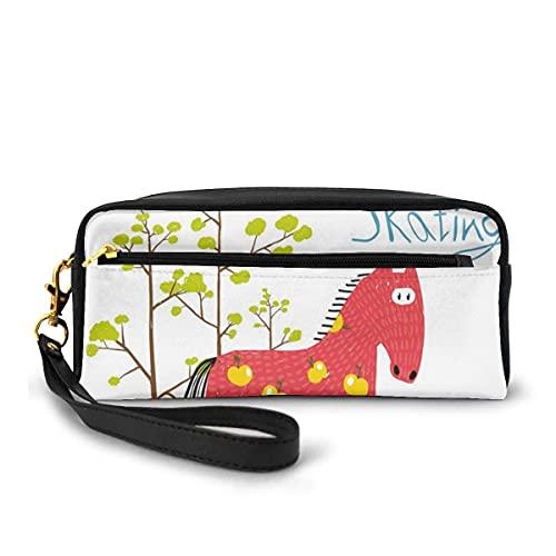 Bingyingne Estuche para lápices Estuche para bolígrafo Estacionario, Wow Its Patinaje Caballo sobre hielo Divertido y colorido Árbol de dibujos animados Patrón de pájaros Invierno