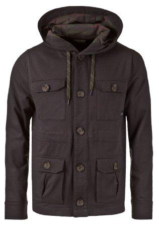 Eight2Nine Herren Sweat Jacke mit Kapuze Knöpfen und Klappen Taschen dark grey S