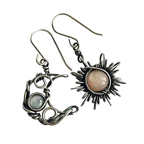 Persdico Pendientes de Sol y Luna de Bohemia, Pendientes de Gota de Cristal Plateado, joyería de Moda Femenina para Mujer, Regalo para niña