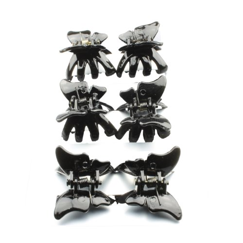 6 Black Plastic Butterfly Mini Clamps IN8314 by Hair Accessories