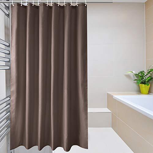 EurCross Duschvorhang, Polyester, schimmelfest, wasserabweisend, Weiß, Polyester, braun, 72