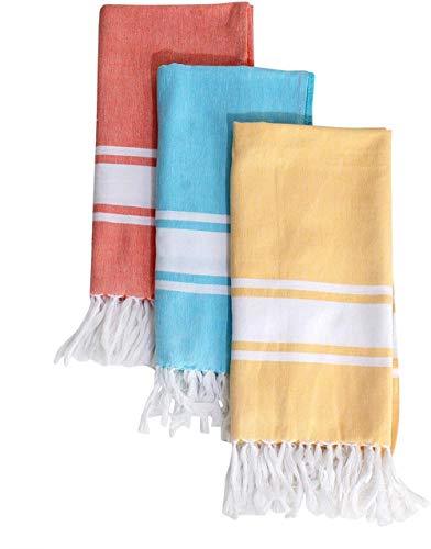Tringing to you - Toalla de playa turca (76 x 152 cm), juego de 3 toallas de baño multicolor 100% algodón para spa, yoga y baño