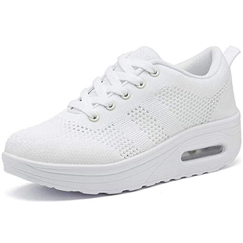 Hsyooes Women Wedges Tennis Rocker Shoes Walking Sports Shoes Lightweight Sneakers Air Cushion Slip On Fitness Shoes 5B(M) US=Label size36 White A