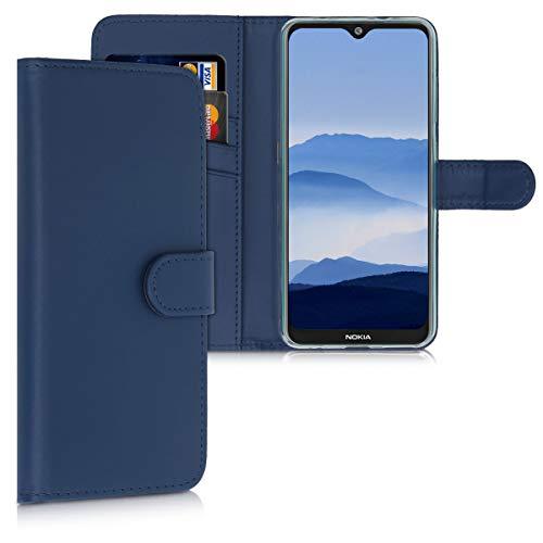 kwmobile Wallet Hülle kompatibel mit Nokia 7.2 - Hülle Kunstleder mit Kartenfächern Stand in Dunkelblau