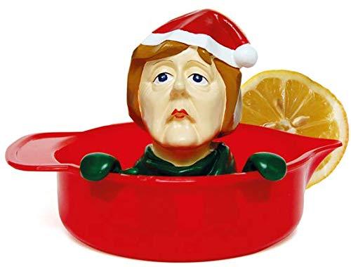 Weihnachts - Zitronenpresse ''Angie'' aus stabilem Gießharz, handbemalt, lebensmittelechten Farben - Squeeze it! Ø 12 cm, Höhe 10 cm • Angela Markel Zitronenpresse • Weihnachtliches von Inkognito