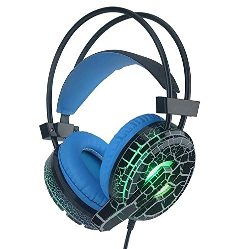 YUIK Gaming Headset Deep Bass Computer Game Hoofdtelefoon met microfoon LED Licht voor computer PC Gamer, Zwart