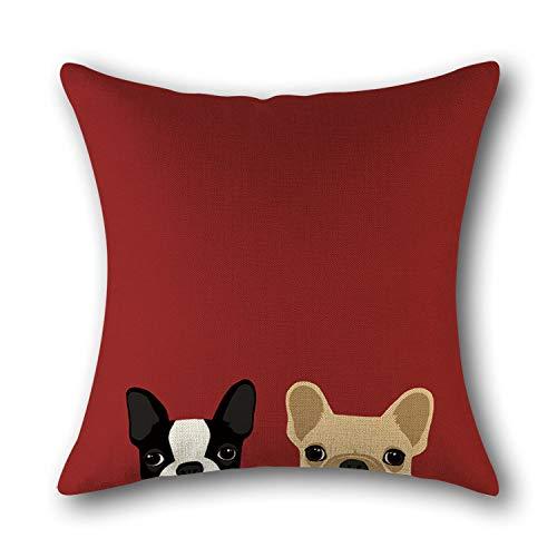 Dollin&Dockin Vierkante kussensloop Cat Head hond hoofd katoen gedrukt huiskussen leuke decoratie geschikt voor bank slaapkamer woonkamer auto beschermhoes kleur 14
