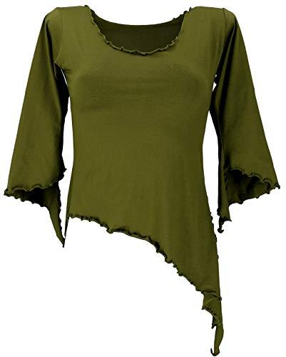 GURU SHOP Psytrance - Camiseta de Elfos Goa Chic con mangas acampanadas para mujer, algodón, manga larga y sudaderas alternativas verde oliva Medium-Large