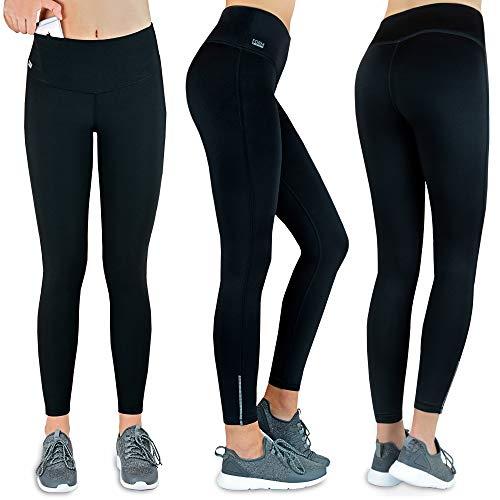 Formbelt® Thermo Leggings Damen Winter Laufhose mit Tasche lang - Stretch-Hose Hüfttasche für Smartphone iPhone Handy Schlüssel (schwarz XL)