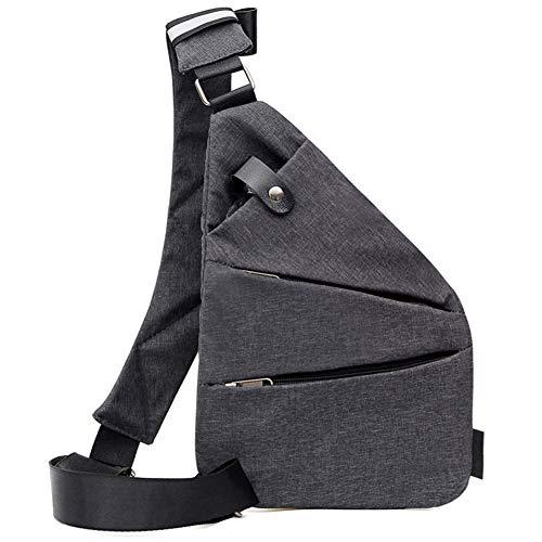 FANDE Crossbody Tasche Schultertaschen, Multifunktion Rucksack, Grau Brusttasche, Outdoor-Sport Reisen Wandern, Damen Und Herren(Grau, Linke Hand)