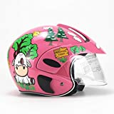 Casco integrale for bambini Winter Warm Boy Baby Child Casco for motocicletta elettrico Casco femminile Four Seasons (Color : Pink)