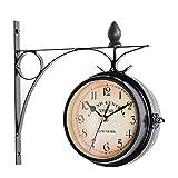 Relojes de jardín para Exteriores, Resistentes al Agua, Hierro Forjado, Relojes de Exterior de Doble Cara Decorativos Vintage para el jardín, Colgador de Metal con Pilas, montado en la Pared