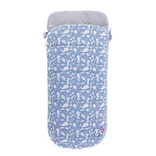 Kiwisac Saco Carrito Bebé MOBY DICK DENIM | Saco para Silla de Paseo Entretiempo, Algodón, Universal, Color Azul, 90 x 45 cm
