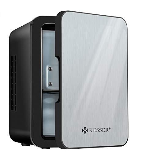 KESSER® 2in1 Mini Kühlschrank 4 Liter Edelstahl | mit Kühl- und Heizfunktion | 45 Watt | Steckdose und am Zigarettenanzünder | 12 Volt und 230 Volt | Kabel Auto | Warmhaltebox| Mini-Thermobox