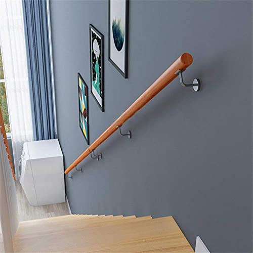 Handrail - Kit completo, barandilla de seguridad antideslizante de madera ronda antideslizante sin resbalones para barras, hogar contra la pared interior loft barandillas ancianas pasamanos corredor d