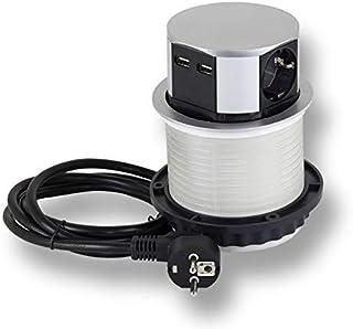 Stopcontact inschuifbaar 3x Schuko, 2x USB voor keuken, kantoor, meubels. Inbouwstopcontact met 1,4m kabel ook voor kookei...
