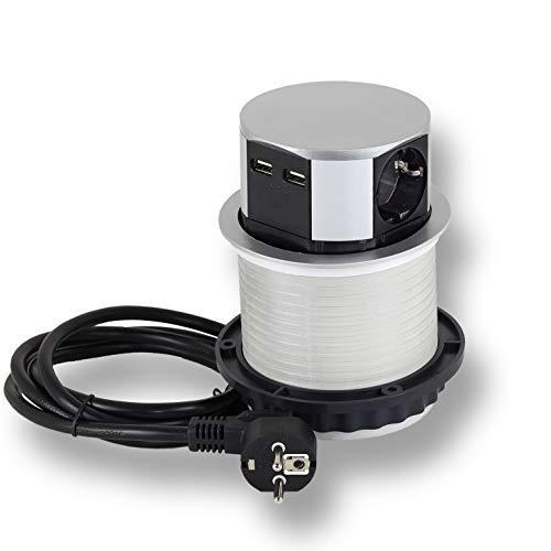 Steckdose versenkbar 3x Schuko, 2x USB für Küche, Büro, Möbel. Einbausteckdose mit 1,4m Kabel auch für Kochinsel, Schreibtisch | 230V AC | IP20 | grau | max 3600 Watt | 5VDC / 1,2 A