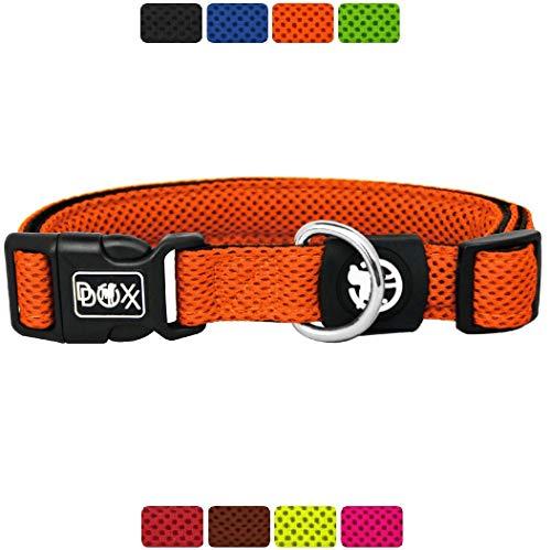 DDOXX Hundehalsband Air Mesh, verstellbar, gepolstert | viele Farben & Größen | für kleine & große Hunde | Halsband Hund Katze Welpe | Hunde-Halsbänder breit | Katzen-Halsband klein | Orange, S