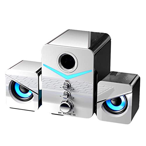USB Computer Speakers with Subwoofer,3.5mm Aux Input with LED Atmosphere Light Stereo Bass Wired Desktop Speaker for PC, Laptops,Tablets (Bluetooth, white)